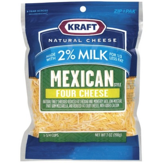 Kraft Shredded Mexican Style Four Cheese Blend Made with 2% Reduced