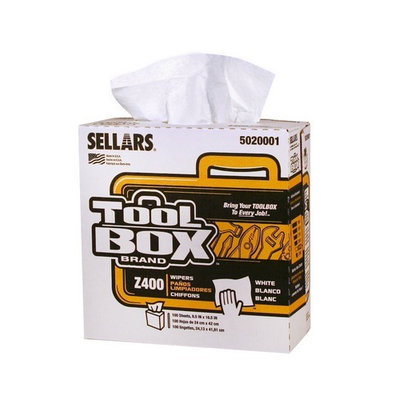 TOOLBOX Cleaning Wipes Z400 Interfold Wipers (100-Count; 8 Boxes Per Case; 800 Sheets Per Case) Color: White 5020001