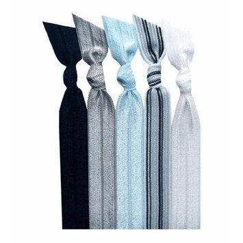 Emi Jay Set of 5 Hair Ties, Grey Stripe