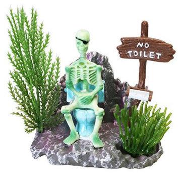 Penn Plax Skeleton On Toilet Action-Air Ornament