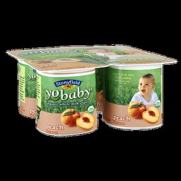 Stonyfield Organic YoBaby Babies 6mos+ Peach Whole Milk Yogurt - 4 PK