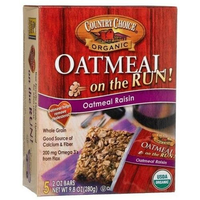 Country Choice Organic Oatmeal On The Run, Oatmeal Raisin, 5-Count Bars (Pack of 6)