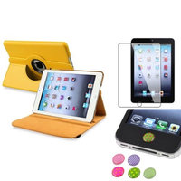 Insten iPad Mini 3/2/1 Case, by INSTEN Yellow 360 Leather Case Cover+Protector/Sticker for iPad Mini 3 2 1