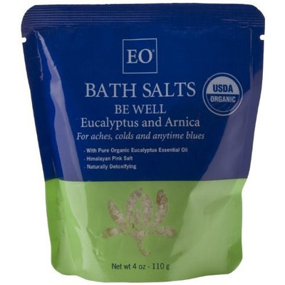 EO Organic Bath Salts Be Well, Eucalyptus and Arnica, 4-Ounce Bags (Pack of 4)
