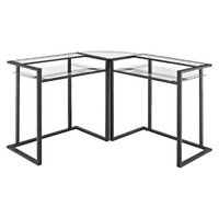 Walker Edison Computer Desk: C-Frame Glass and Metal Corner Computer Desk
