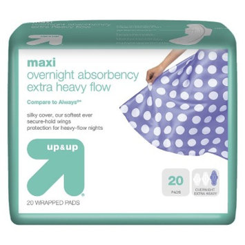 up & up up&up Maxi Pads Overnight Extra Heavy Flow with Wings - 20 Count