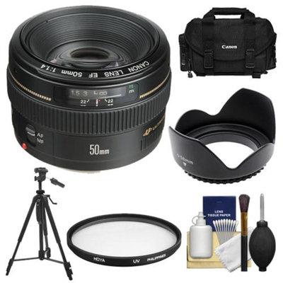 Canon EF 50mm f/1.4 USM Lens with Canon Case + Hoya UV Filter + Hood + Tripod + Cleaning Kit for EOS 60D, 7D, 5D Mark II III, Rebel T3, T3i, T4i Digital SLR Cameras