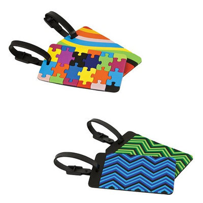 Travelon Set of 4 Luggage Tags-2 Puzzles and Swirls Plus 2 Zig Zag Set of Luggage Tags