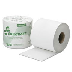 SKILCRAFT(R) 2-Ply Individual Toilet Tissue Rolls, 4in. x 3 3/4in, 100% Recycled, White, 500 Sheets Per Roll, 96 Rolls