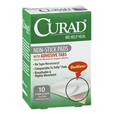 Curad Non-Stick Pads with Adhesive Tabs - 10 CT
