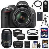 Nikon D5200 Digital SLR Camera & 18-55mm G VR DX AF-S Zoom Lens (Black) with 55-300mm VR Lens + 64GB Card + Battery + Case + Tripod + Tele/Wide Lenses + Remote + Accessory Kit
