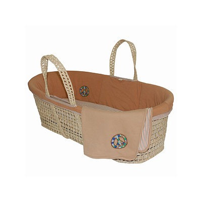 Tadpoles Organic Moses Basket Set  with Peace Embroidery