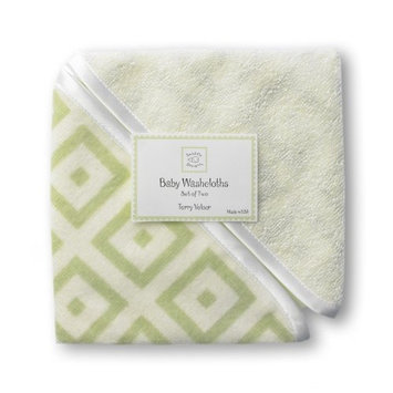 SwaddleDesigns Terry Velour Baby Washcloth Set - Very Light Kiwi with Kiwi Mod Squares (Discontinued by Manufacturer)