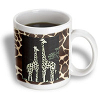Recaro North 3dRose - Florene Decorative - Pair of Giraffes On Giraffe Fur - 11 oz mug