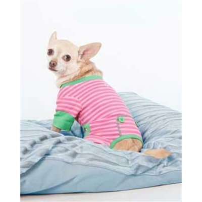 Fashion Pet Pink and Green STRIPED PJ'S, Small