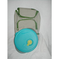 Kool Aid Lunch Bag (Tan with Forest Green Trim) with 1 Tupperware 1 3/4 cup Shallow Vent N Serve, Cosmic Black w/ Peacock Blue Seal w/yellow vent