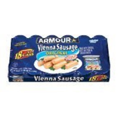 Armour original vienna sausage, made with chicken, beef and pork. 18 5-ounce cans 90 oz Tray