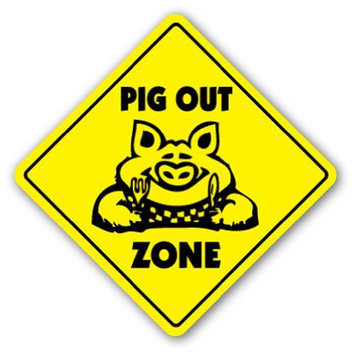 Noveltysignsonline PIG OUT ZONE -Sign- bbq barbeque pork sauce smoker hot