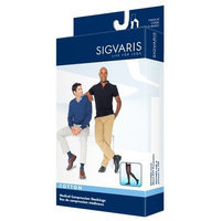 Sigvaris 230 Cotton Series 30-40 mmHg Men's Closed Toe Thigh High Sock Size: Small Short, Color: Black 99