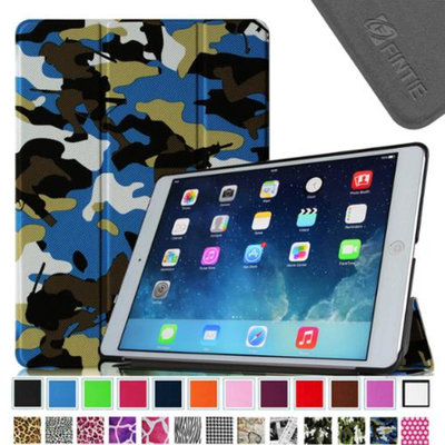 Fintie Smart Shell Leather Case Cover for Apple iPad Air (iPad 5 5th Generation), Camouflage Blue
