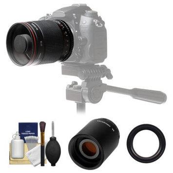 Vivitar 500mm f/8.0 Mirror Lens with 2x Teleconverter (=1000mm) + Accessory Kit for Nikon D3200, D3300, D5200, D5300, D7000, D7100, D610, D800, D810, D4s DSLR Cameras