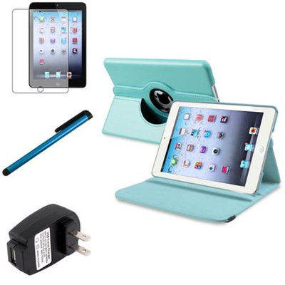 Insten iPad Mini 3/2/1 Case, by INSTEN Light Blue 360 Leather Case Cover+AG Protector for iPad Mini 3 2 1