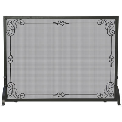 Blue Rhino Global Sourcing, Inc. Single Panel Black Wrought Iron Screen with Decorative Scroll