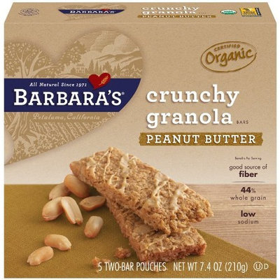 Barbara's Bakery Crunchy Organic Granola Bars, Peanut Butter, 7.4-Ounce Boxes (Pack of 6)