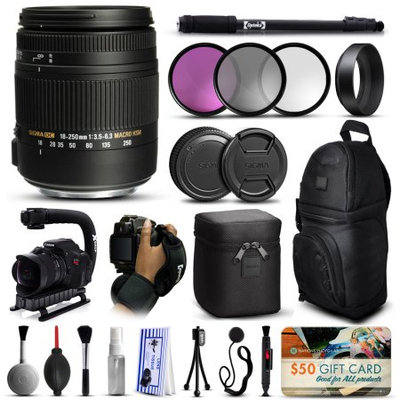 47th Street Photo Sigma 18-250mm F3.5-6.3 DC OS MACRO HSM Lens for Canon (883101) with Deluxe Accessories Package includes 3 Piece Filter Set (UV-CPL-FLD) + Stabilizer Handle + Sling Backpack + 67 Monopod + Wrist Strap + Cleaning Kit + Air Dust Blower + $50 Gift Card