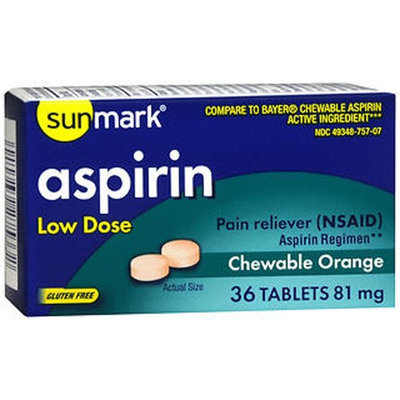 Sunmark Aspirin Adult Low Dose Chewable, 81 mg, Orange 36 tabs by Sunmark