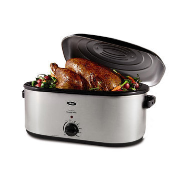 Oster 22 qt. Roaster Oven with Self-Basting Lid in Stainless Steel CKSTRS23-SB
