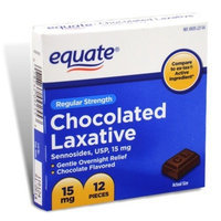 Equate - Chocolated Laxative, Regular Strength, Sennosides 15 mg, 12 Pieces (Compare to ex-lax)
