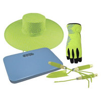 Midwest Quality Gloves Sun Hat, Synthetic Palm Spandex Back Gloves, Kneeling Pad and 3 Piece
