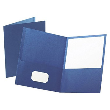 Esselte Oxford Twin-Pocket Portfolio with Embossed Leather Grain Paper - Blue