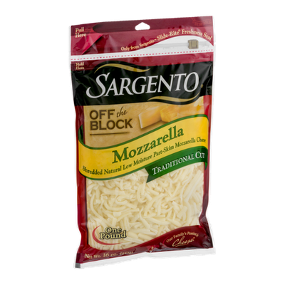 Sargento Off the Block Mozzarella Traditional Cut Cheese Shredded