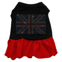 Mirage Pet Products 5710 MDBKRD Rhinestone British Flag Dress Black with Red Med 12