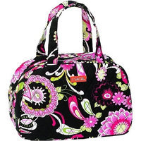 Sachi Black And Pink Floral Cosmo Style Insulated Lunch Bag