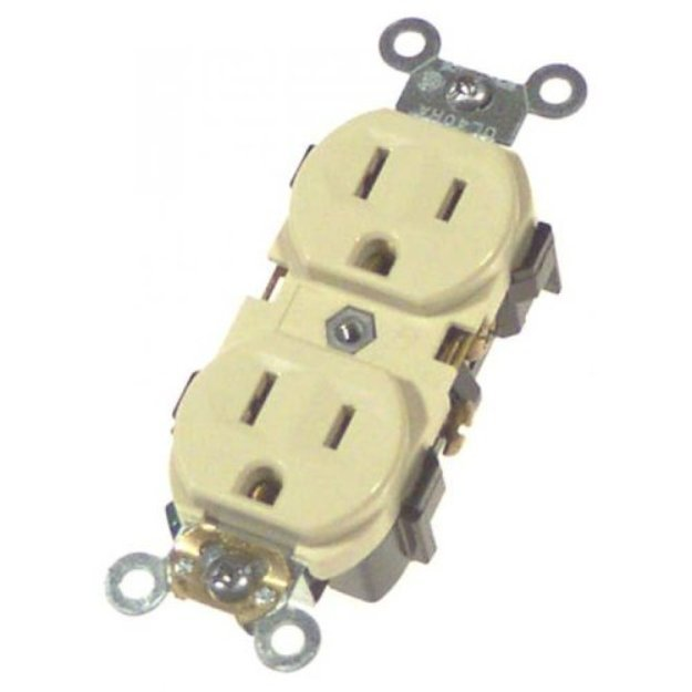 Leviton R41-0BR15I Ivory Commercial Grade Straight Blade Duplex Receptacle