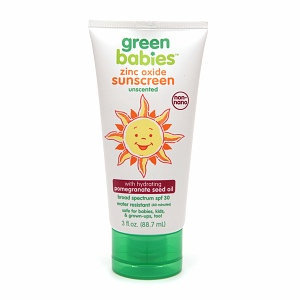 Green Babies Zinc Oxide SPF 30 Sunscreen Unscented with Hydrating Pomegranate Oil