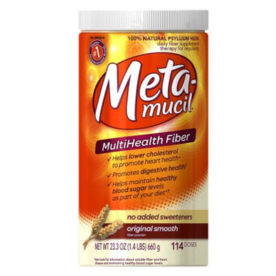 Metamucil Sugar Free Multihealth Fiber Supplement Powder Sugar-Free Original Smooth