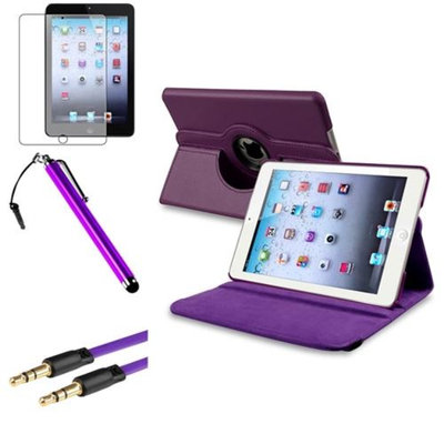 Insten iPad Mini 3/2/1 Case, by INSTEN Purple 360 Leather Case Cover+Matte Protector+Cable for iPad Mini 3 2 1