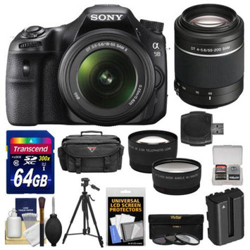 Sony Alpha SLT-A58 Digital SLR Camera Body & 18-55mm with 55-200mm Lens + 64GB Card + Case + Battery + Tripod + Filters + Tele/Wide Lens Kit