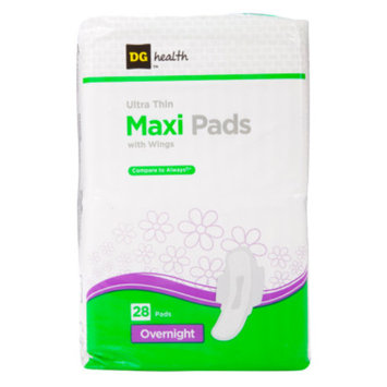DG Health Ultra Thin Maxi Pads with Wings - Overnight - 28 ct