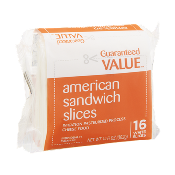 Guaranteed Value Cheese Sandwich Slices American White - 16 CT