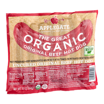 Applegate The Great Organic Original Beef Hot Dog - 7 CT