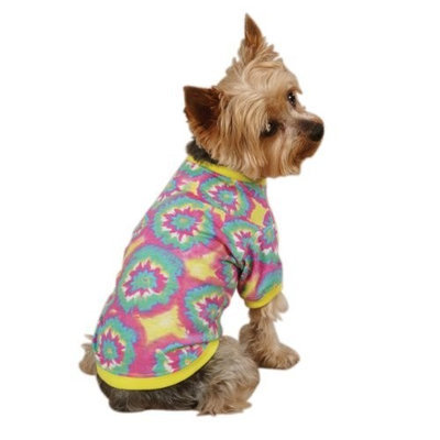 Casual Canine Polyester/Cotton Starburst Tie Dye Dog Pullover Tee, X-Small, 10-Inch, Yellow