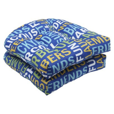 Pillow Perfect Outdoor 2-Piece Wicker Seat Cushion Set - Blue/Yellow Grillin