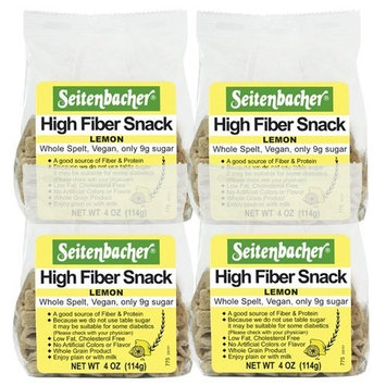 Seitenbacher Lemon High Fiber Snack, 4.00-Ounce (Pack of 4)