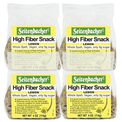 Seitenbacher Lemon High Fiber Snack, 4.00-Ounce (Pack of 4)