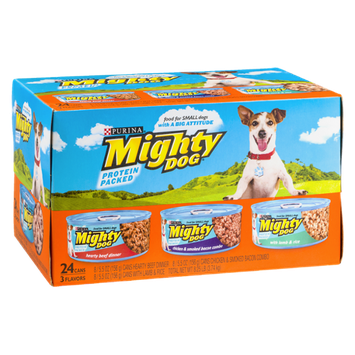 Purina Mighty Dog Hearty Beef Dinner, Chicken & Smoked Bacon Combo and With Lamb & Rice Dog Food - 24 CT